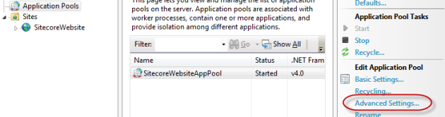 IIS Manager showing a list of application pools.