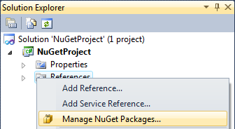 "Open ""Manage NuGet Packages"" dialog"