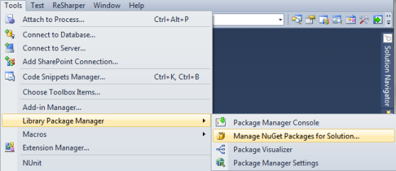Opening the Library Package Manager