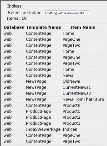 Browser Title index contents