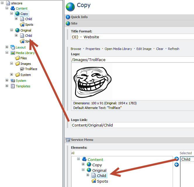 changing sitecore item references when creating copying