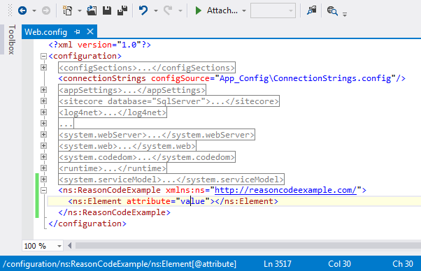 XPath information incl. XML namespace being displayed in Visual Studio status bar.