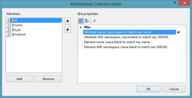 "My XPath settings for the ""Copy distinct XPath"" command"