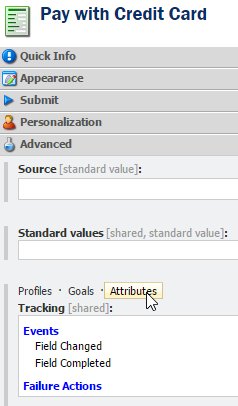 Open tracking field attributes
