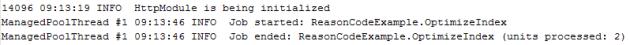 OptimizeIndex agent log entries.