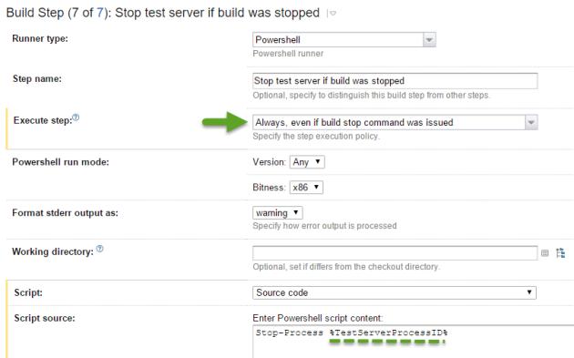 Create PowerShell build step.